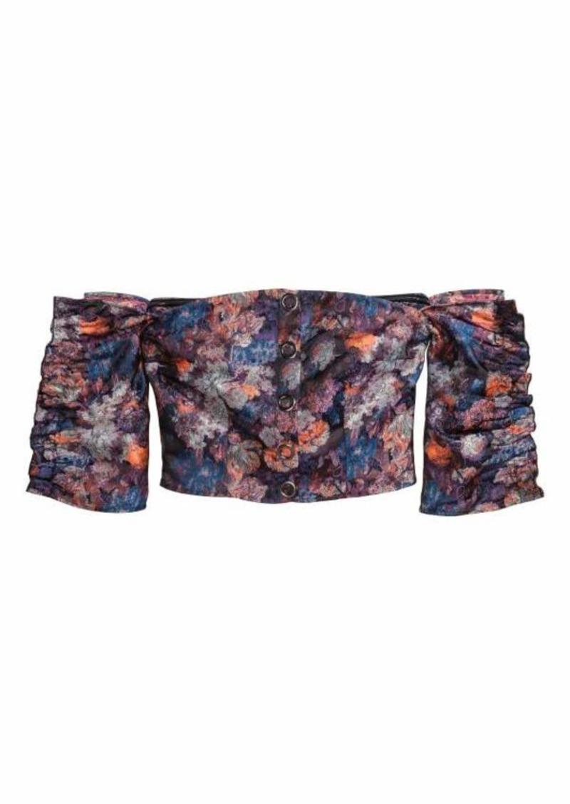 H&M H & M - Jacquard-patterned Blouse - Black/floral - Women
