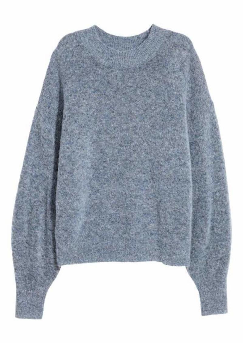 587a0a58c H M H   M - Knit Mohair-blend Sweater - Blue melange - Women Now  17.99