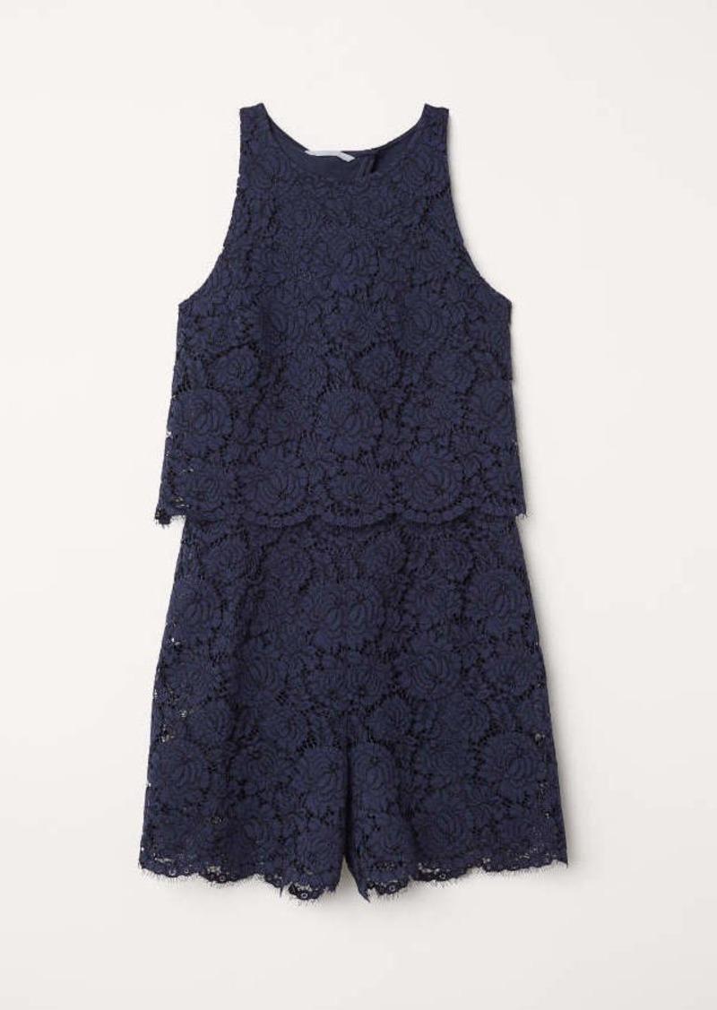 759f8f9580b H M H   M - Lace Jumpsuit - Dark blue - Women