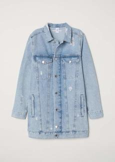 H&M H & M - Long Denim Jacket - Light denim blue/Trashed - Women