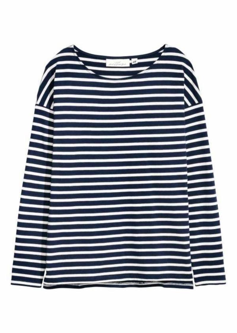 b064b5b76946d0 H&M H & M - Long-sleeved Top - White/dark blue striped - Women ...