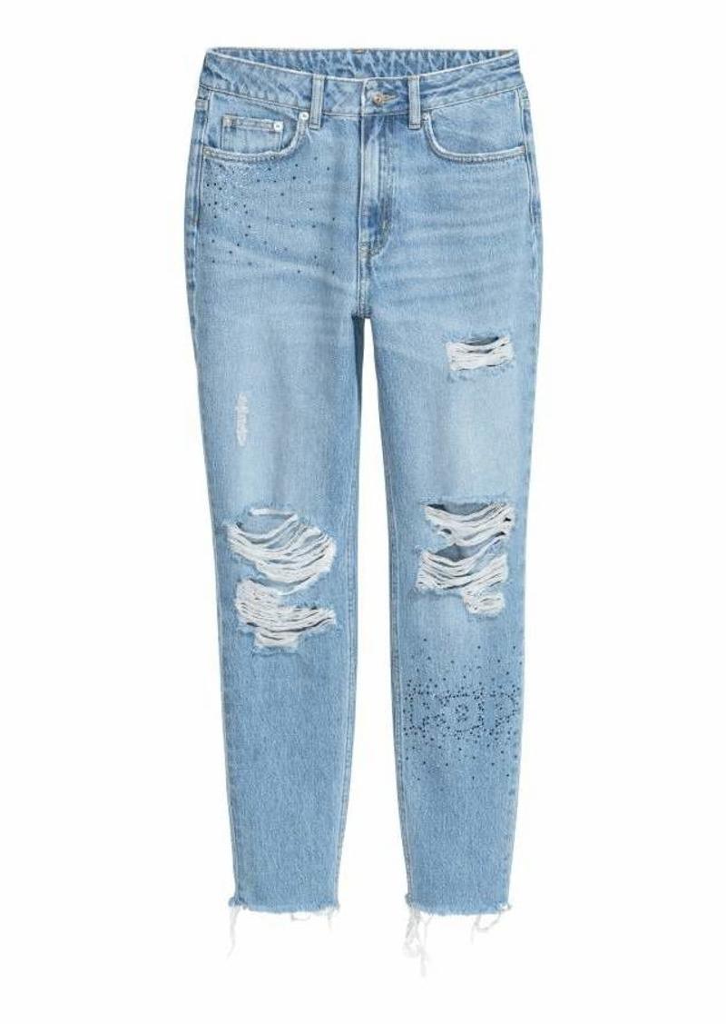 e10ae37228962 H&M H & M - Mom Jeans Trashed - Light denim/rhinestones - Women