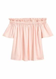 H&M H & M - Off-the-shoulder Blouse - Powder pink - Women