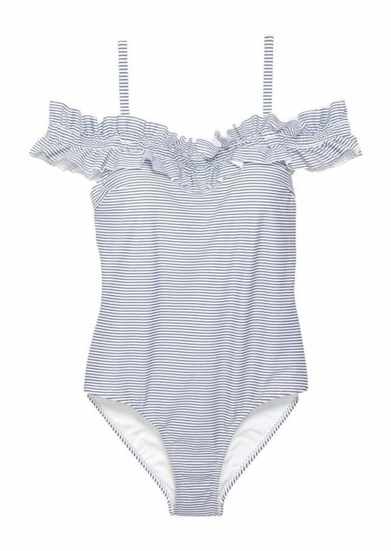 786db0c1faa62d H M H   M - H   M+ Off-the-shoulder Swimsuit - White blue striped ...