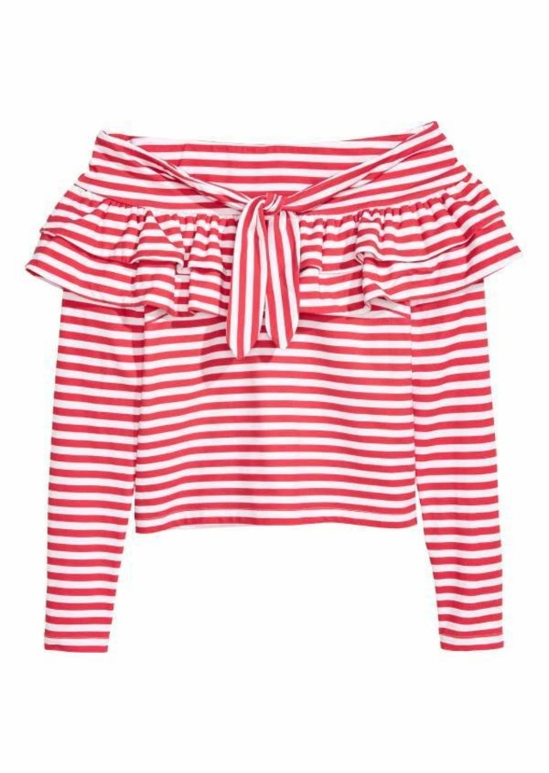 9d133f536b H&M H & M - Off-the-shoulder Top - Red/white striped - Women ...