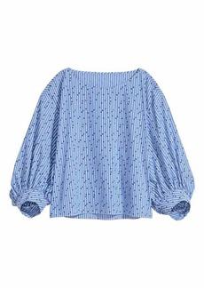 H&M H & M - Patterned Cotton Blouse - Blue/white striped - Women