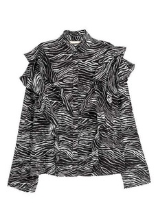H&M Patterned Ruffled Blouse