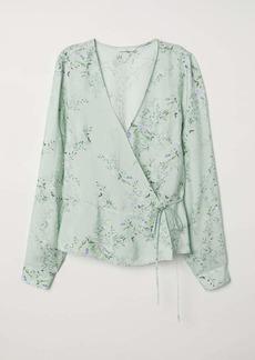 H&M H & M - Patterned Wrapover Blouse - Dusky green/floral - Women