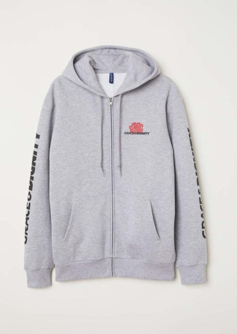 27a1d8257cd5b H&M H & M - Printed Hooded Jacket - Gray melange - Men | Outerwear