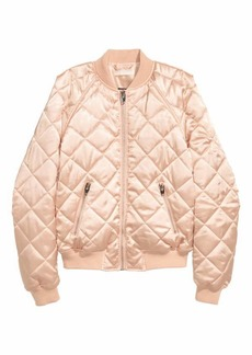 H&M Quilted Satin Bomber Jacket