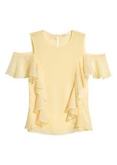 H&M Ruffled Open-shoulder Blouse