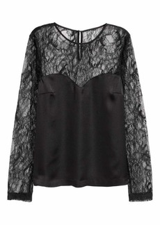 H&M Satin Blouse with Lace Sleeves