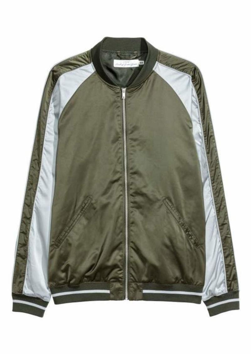 bb1e99099 H & M - Satin Bomber Jacket - Khaki green/light gray - Men