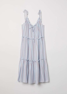 H&M H & M - Sleeveless Ruffle-trim Dress - Light blue/striped - Women