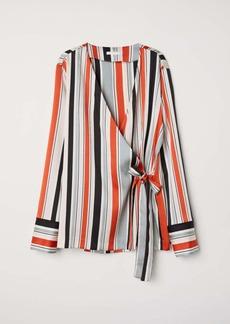 H&M H & M - Striped Wrapover Blouse - Light gray/striped - Women