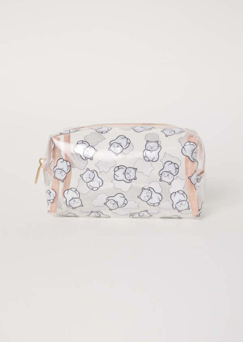 H M Transpa Makeup Bag Powder Pink Cats Women