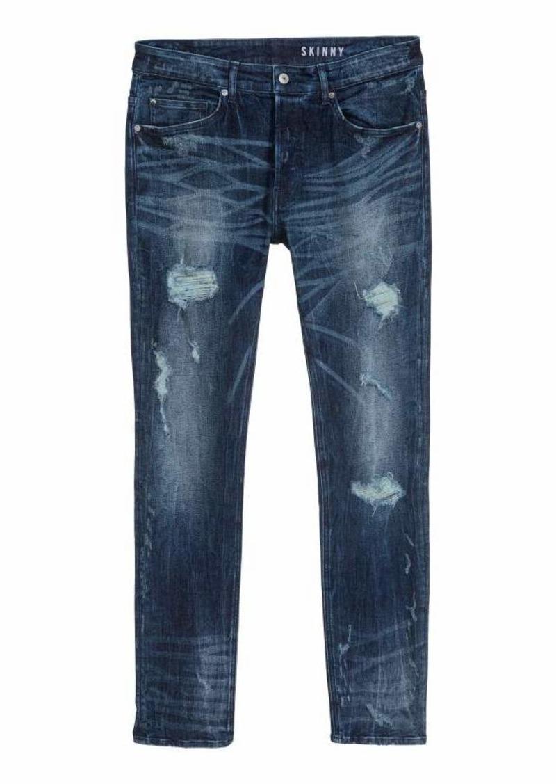 H&M H & M - Trashed Skinny Jeans - Dark denim blue - Men