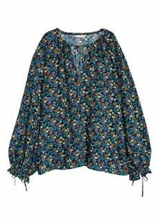 H&M H & M - Wide-cut Blouse - Dark blue/floral - Women