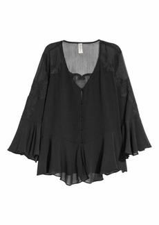 H&M H & M - Wide-cut Chiffon Blouse - Black - Women