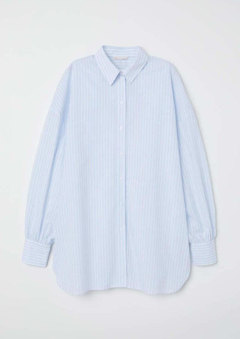 69af7445cb H&M H & M - Wide-cut Cotton Shirt - Light blue/white striped - Women ...