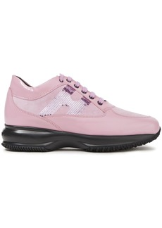Hogan Woman Interactive Sequin-embellished Leather And Suede Sneakers Baby Pink