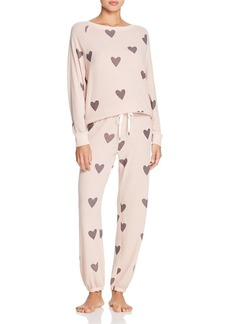 Honeydew Heart Print Pajama Set