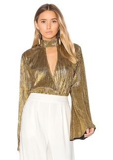 House of Harlow 1960 x REVOLVE Lynn Blouse in Metallic Gold. - size L (also in M,S,XS)