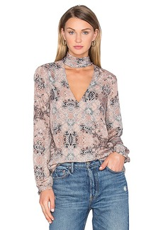 House of Harlow 1960 x REVOLVE Naomi Tie Neck Blouse in Taupe. - size S (also in XS)
