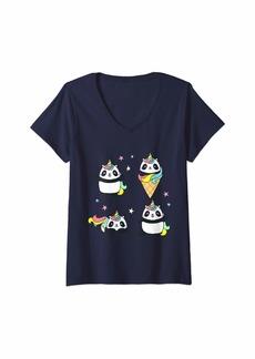 Huda Womens Pandicorn Pandacorn Funny Panda Unicorn Ice Cream Tee V-Neck T-Shirt