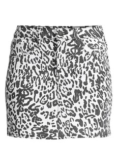 Hudson Jeans Animal-Print Denim Mini Skirt