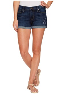 Hudson Jeans Asha Mid-Rise Floral Embroidered Cuffed Shorts in Patrol Unit