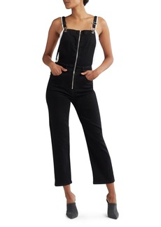 Hudson Jeans Avalon Zip-Front Cropped Coverall Denim Jumpsuit