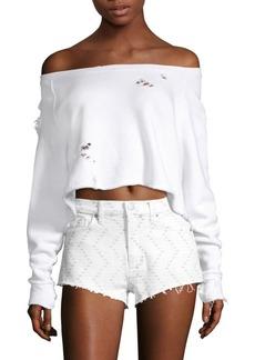 Hudson Jeans Baja East Off-The-Shoulder Sweatshirt
