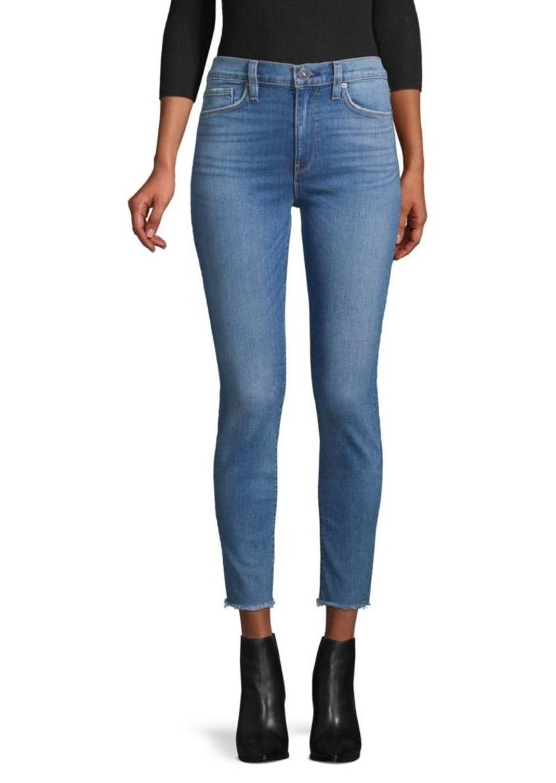 Hudson Jeans Barbara High-Rise Raw-Hem Super Skinny Ankle Jeans