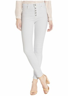 Hudson Jeans Barbara High-Rise Super Skinny Ankle Jeans with Exposed Buttons in White