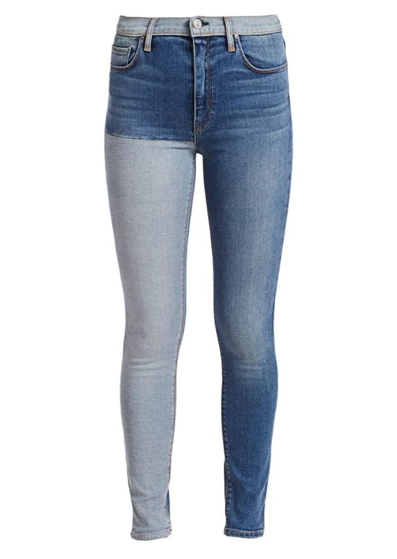 Hudson Jeans Barbara High-Rise Super Skinny Two-Tone Jeans