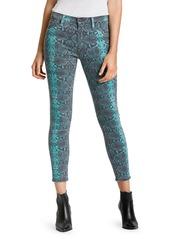 Hudson Jeans Barbara Mid-Rise Snakeskin High-Rise Skinny Jeans