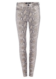 Hudson Jeans Barbara Python Print Leather Ankle Skinny Pants