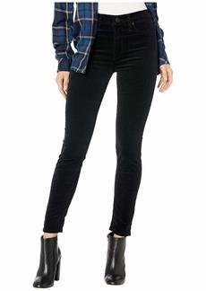 Hudson Jeans Barbara Velvet High-Waist Super Skinny Ankle in Black