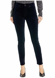 Hudson Jeans Barbara Velvet High-Waist Super Skinny Ankle in Midnight Navy