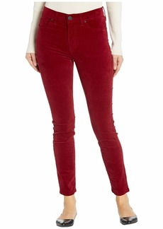 Hudson Jeans Barbara Velvet High-Waist Super Skinny Ankle in Oxblood