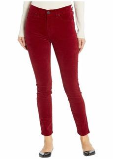 Hudson Jeans Barbara Velvet High-Waist Super Skinny Ankle in Oxblood