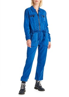 Hudson Jeans Belted Zip-Front Twill Jumpsuit