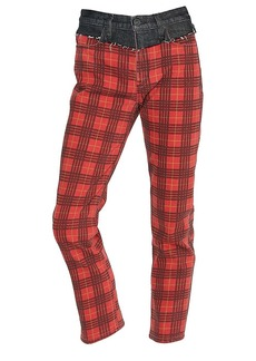 Hudson Jeans Bettie High-Rise Mixed-Media Plaid Tapered Jeans