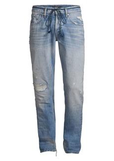 Hudson Jeans Blake Franchise Mid-Rise Drawstring Slim-Fit Jeans