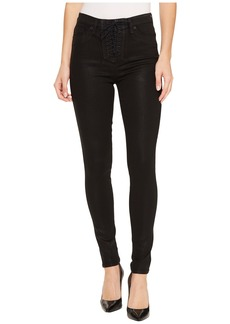 Hudson Jeans Bullocks High-Rise Lace-Up Super Skinny in Black Coated