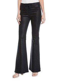 Hudson Jeans Bullocks Lace-Up Faux-Leather Flare-Leg Pants