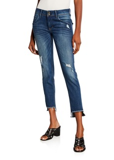Hudson Jeans Cat Mid-Rise Ripped Step-Hem Skinny Jeans