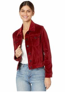 Hudson Jeans Classic Fitted Velvet Trucker Jacket in Oxblood