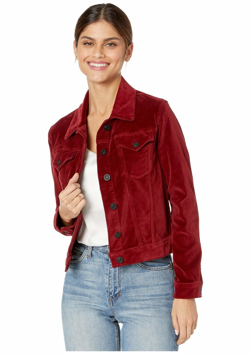 Hudson Jeans Classic Fitted Velvet Trucker Jacket in Oxblood